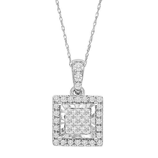 Tru Miracle Womens Genuine White Diamond 10K White Gold Pendant Necklace