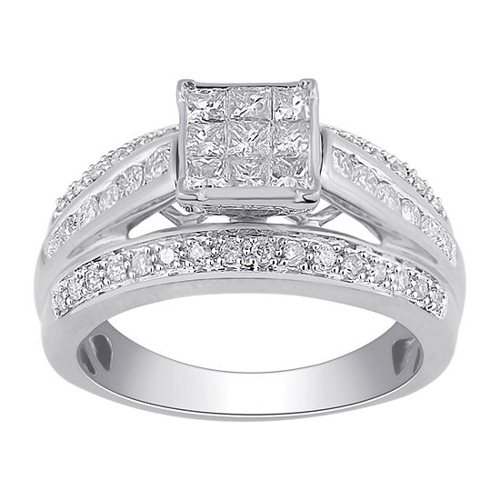 1 CT. T.W. Diamond 10K White Gold Multi-Top Bridal Ring