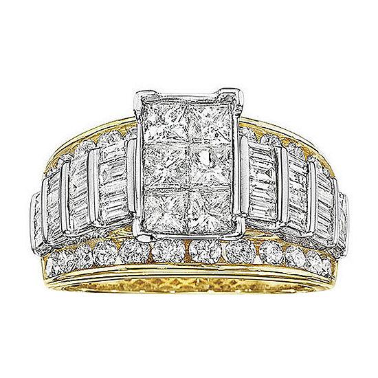 3 CT. T.W. Genuine Diamond Multi-Stone Engagement Ring