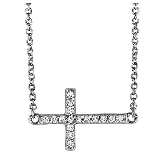 1/10 CT. T.W. Diamond Sterling Silver Mini Sideways Cross Pendant