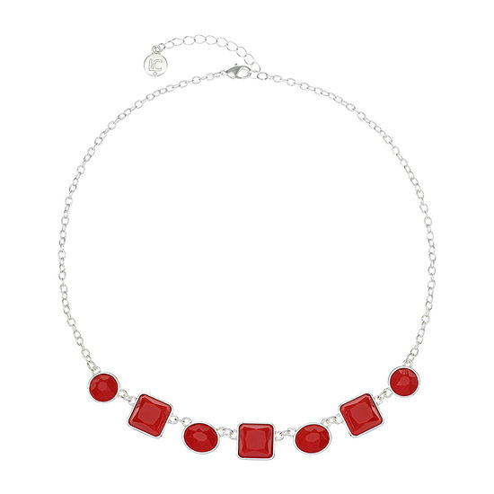 Liz Claiborne Red 17 Inch Cable Square Collar Necklace