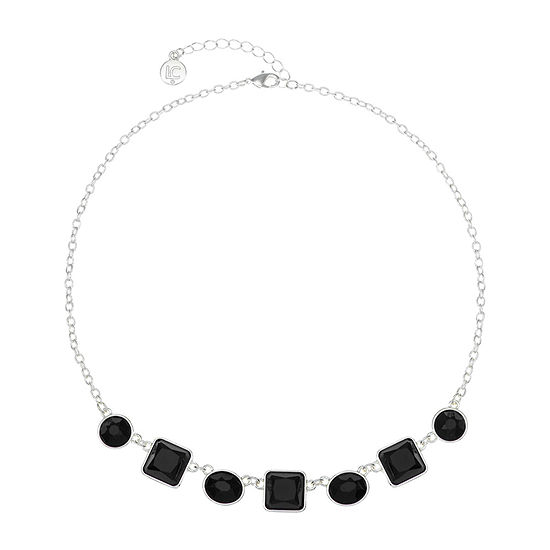 Liz Claiborne Black 17 Inch Cable Square Collar Necklace