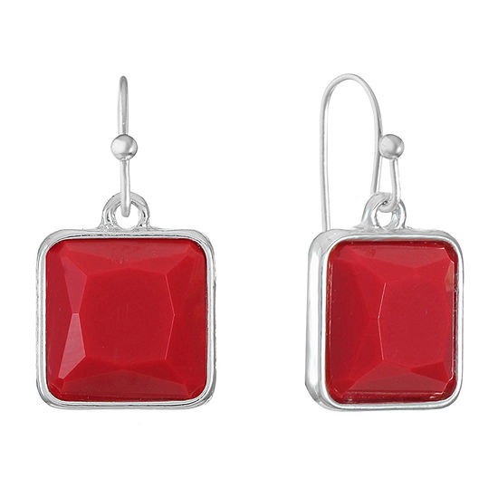 Liz Claiborne Red Square Drop Earrings