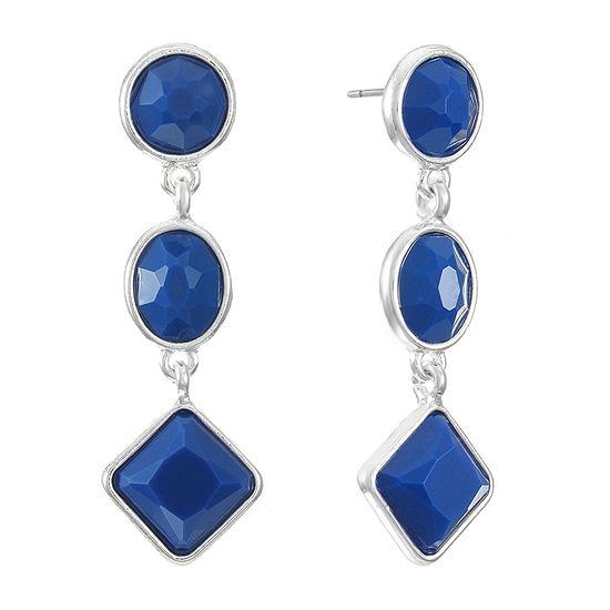 Liz Claiborne Blue Square Drop Earrings