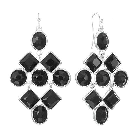 Liz Claiborne Black Square Chandelier Earrings