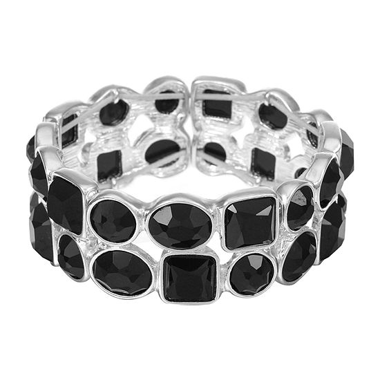 Liz Claiborne Black Square Stretch Bracelet