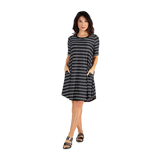 24/7 Comfort Apparel Knee Length Striped Pocket T-Shirt Dress