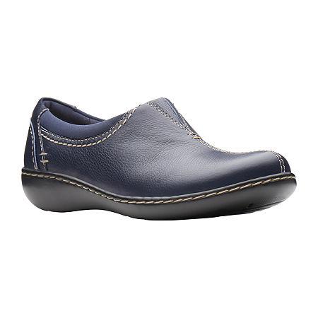 Clarks Womens Ashland Joy Slip-On Shoe Closed Toe, 6 1/2 Medium, Blue
