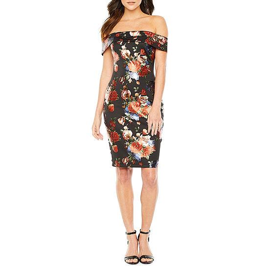 Premier Amour Off The Shoulder Floral Sheath Dress