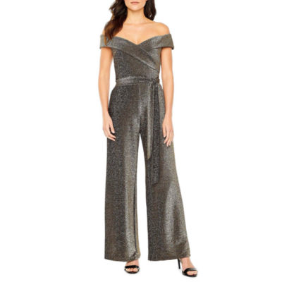 Premier Amour Off The Shoulder Glitter Knit Jumpsuit