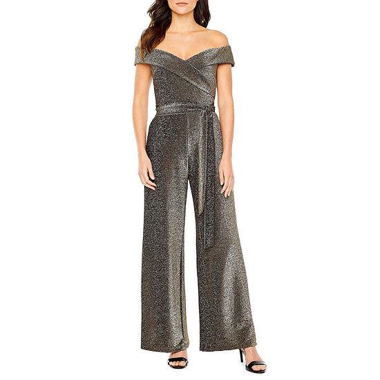 Premier Amour Off The Shoulder Glitter Knit Jumpsuit