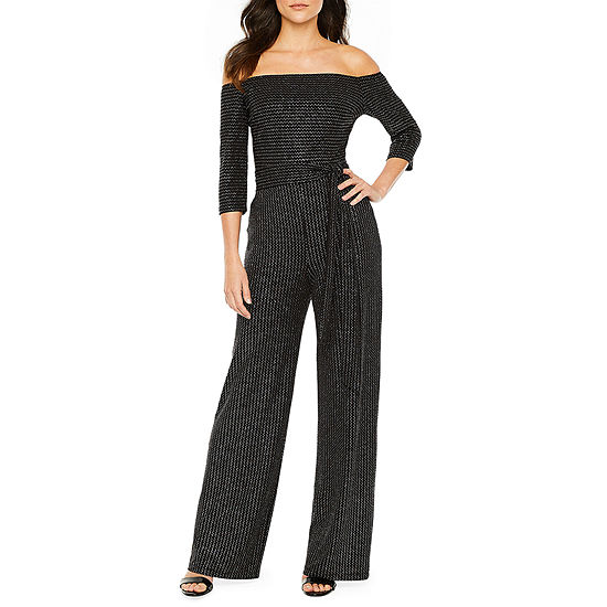Premier Amour Off The Shoulder Glitter Jumpsuit
