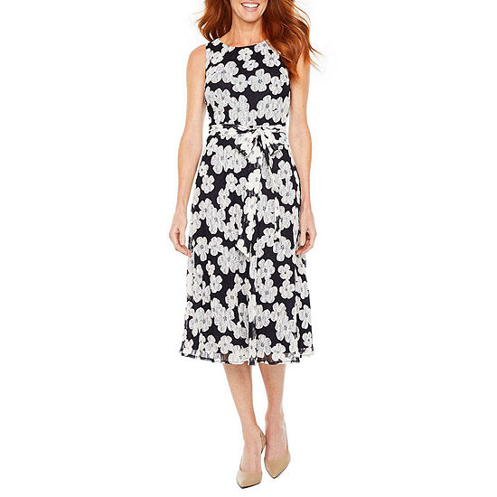 Perceptions Sleeveless Floral Midi Fit & Flare Dress