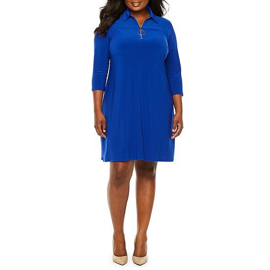 MSK 3/4 Sleeve Swing Dresses - Plus