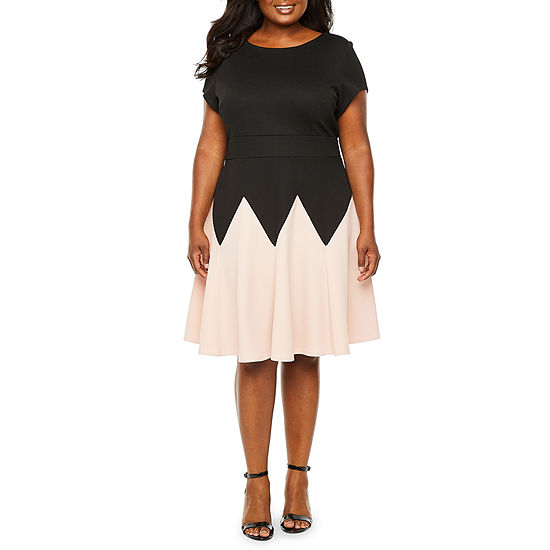 Danny & Nicole Short Sleeve Chevron Fit & Flare Dress - Plus