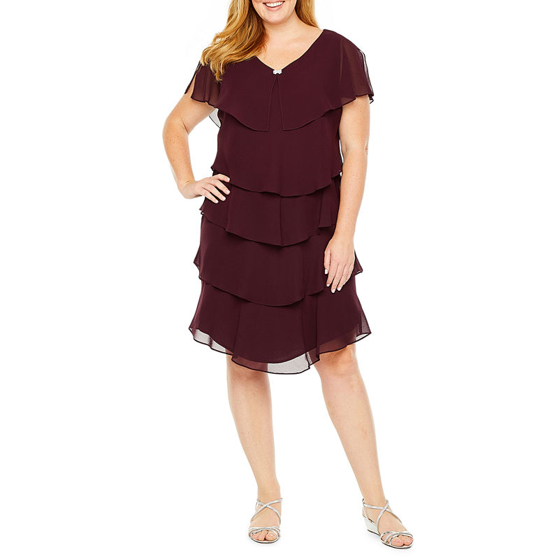 1920s Plus Size Flapper Dresses, Gatsby Dresses, Flapper Costumes S. L. Fashions S.L. Fashions Short Sleeve Tiered Party Dress - Plus Womens Size 16W Purple $48.74 AT vintagedancer.com