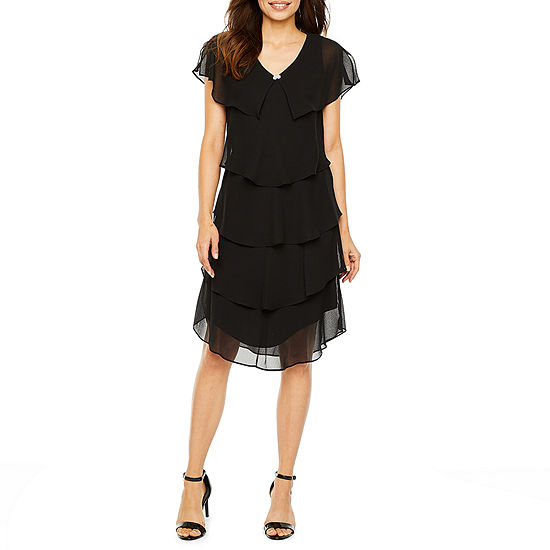 S. L. Fashions Short Sleeve Tiered Party Dress