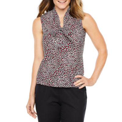 Black Label by Evan-Picone Womens V Neck Sleeveless Blouse