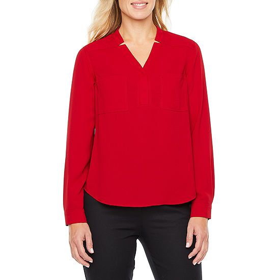 Black Label by Evan-Picone Womens V Neck Long Sleeve Blouse