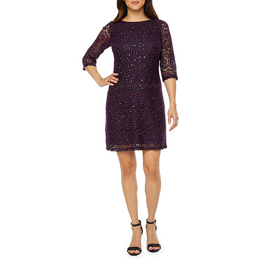 Jessica Howard 3/4 Sleeve Lace Sequin Shift Dress