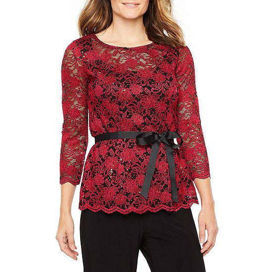 Onyx Womens 3/4 Sleeve Lace Blouse