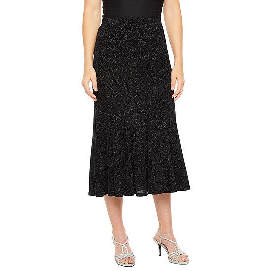 Onyx Womens Glitter Knit Midi Skirt