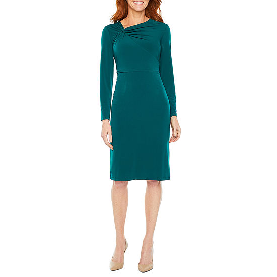 Liz Claiborne Long Sleeve Twist Neck Sheath Dress