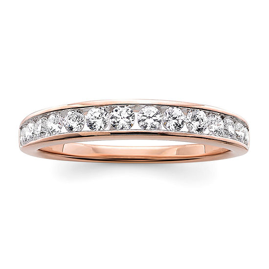 3MM 1/2 CT. T.W. Genuine White Diamond 10K Rose Gold Wedding Band