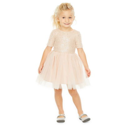 Lilt Christmas Short Sleeve Party Dress - Toddler Girls