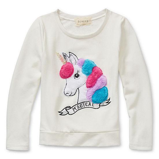 Btween Girls Round Neck Long Sleeve Embroidered Graphic T-Shirt - Big Kid