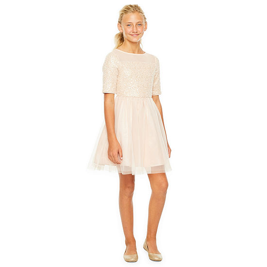 Lilt Girls Elbow Sleeve Fitted Sleeve Party Dress - Preschool / Big Kid