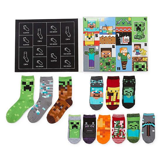 Minecraft Boys 12 Days of Socks Advent Box Set – Preschool/Big Kid