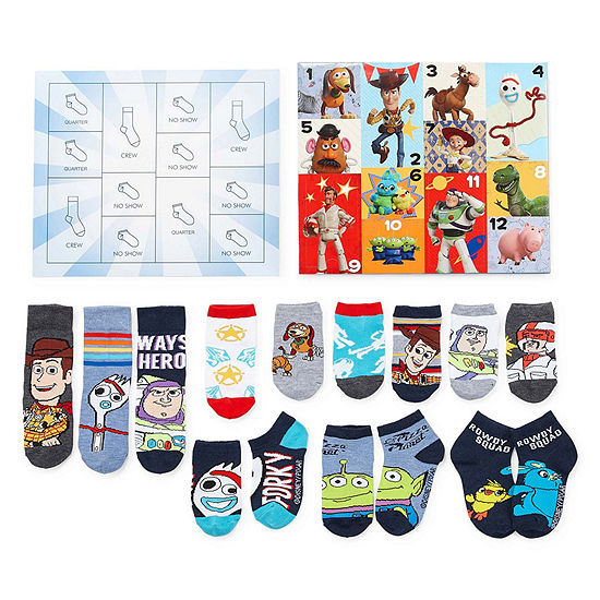 Toy Story Boys 12 Days of Socks Advent Box Set – Preschool/Big Kid
