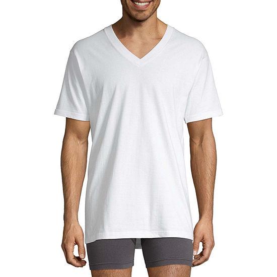 Stafford® 4-pk. Heavyweight V-Neck Cotton T-Shirts - Big & Tall