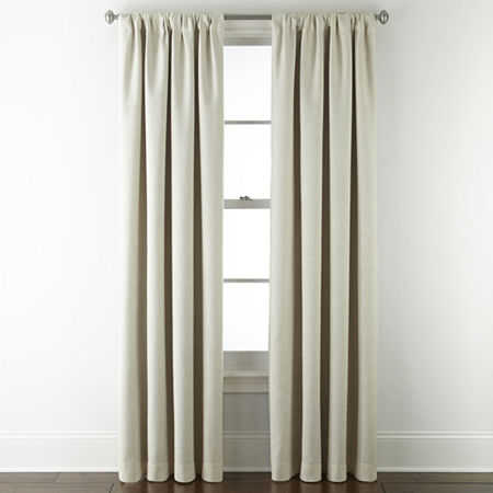 JCPenney Home Sullivan Energy Saving Blackout Back-Tab Single Curtain Panel, One Size , Beige
