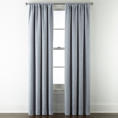 JCPenney Home Sullivan Energy Saving Blackout Back-Tab Single Curtain Panel, One Size , Blue