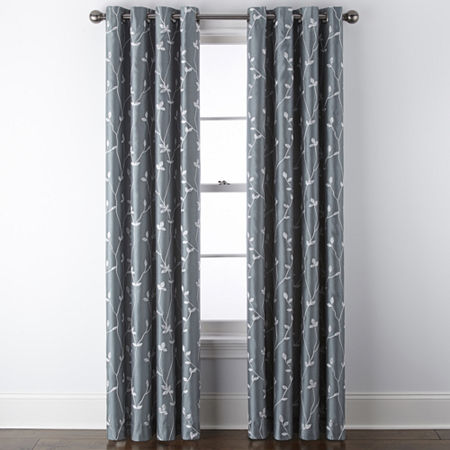 JCPenney Home Malone Leaf Embroidered Blackout Grommet-Top Single Curtain Panel, One Size , Green