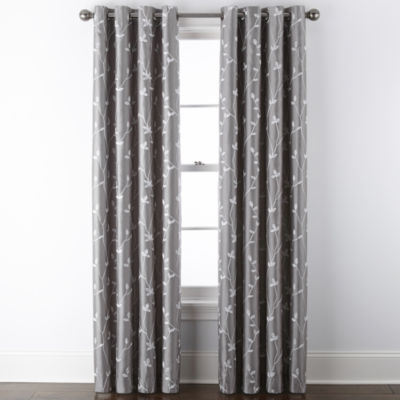 JCPenney Home Malone Leaf Embroidered Blackout Grommet-Top Single Curtain Panel