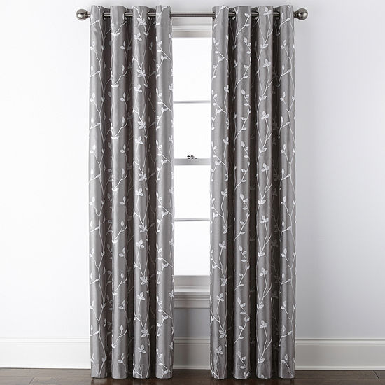 JCPenney Home Malone Leaf Embroidered Blackout Grommet Top Single Curtain Panel