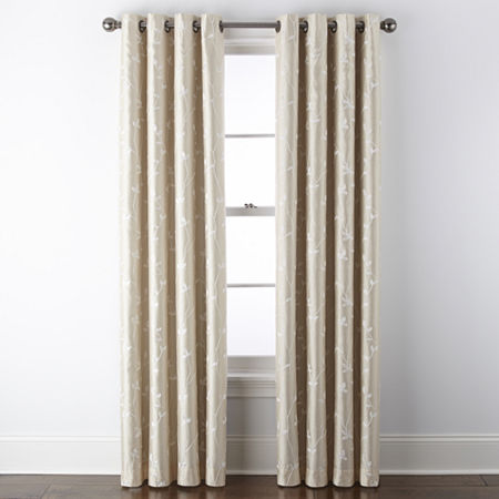JCPenney Home Malone Leaf Embroidered Blackout Grommet-Top Single Curtain Panel, One Size , Beige