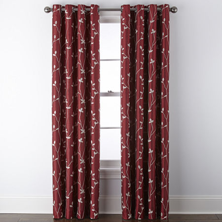 JCPenney Home Malone Leaf Embroidered Blackout Grommet-Top Single Curtain Panel, One Size , Red
