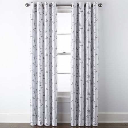 JCPenney Home Malone Leaf Embroidered Blackout Grommet-Top Single Curtain Panel, One Size , White