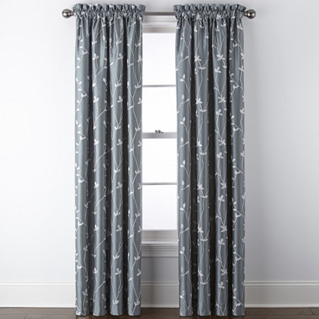 JCPenney Home Malone Leaf Embroidered Blackout Rod-Pocket Single Curtain Panel, One Size , Green