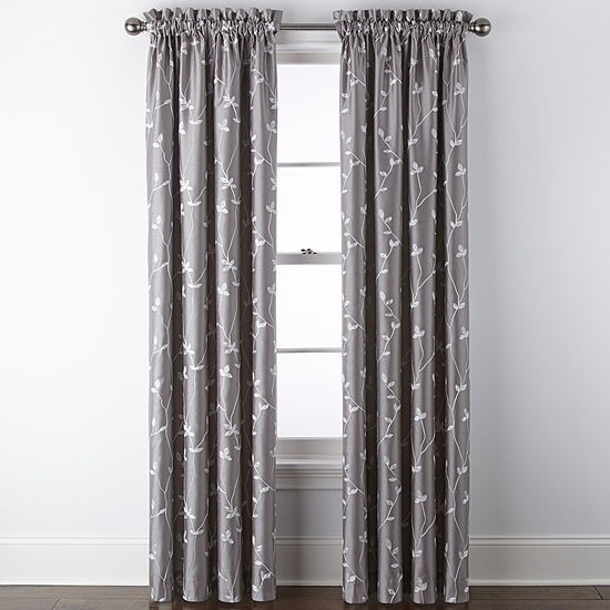 JCPenney Home Malone Leaf Embroidered Blackout Rod-Pocket Single Curtain Panel
