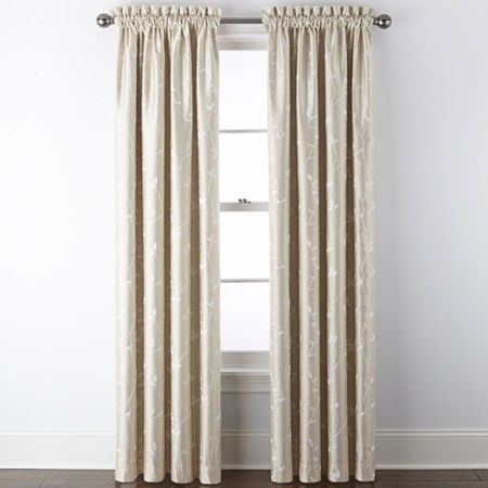 JCPenney Home Malone Leaf Embroidered Blackout Rod-Pocket Single Curtain Panel, One Size , Beige