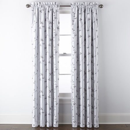 JCPenney Home Malone Leaf Embroidered Blackout Rod-Pocket Single Curtain Panel, One Size , White