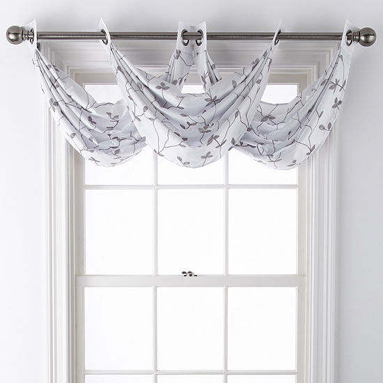 JCPenney Home Malone Leaf Grommet-Top Waterfall Valance