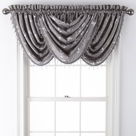 JCPenney Home Malone Leaf Rod-Pocket Waterfall Valance, One Size , Gray