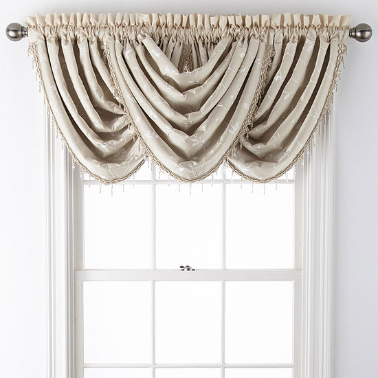 JCPenney Home Malone Leaf Rod-Pocket Waterfall Valance