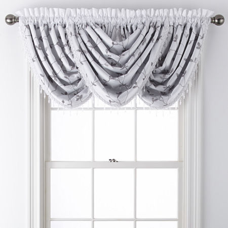 JCPenney Home Malone Leaf Rod-Pocket Waterfall Valance, One Size , White